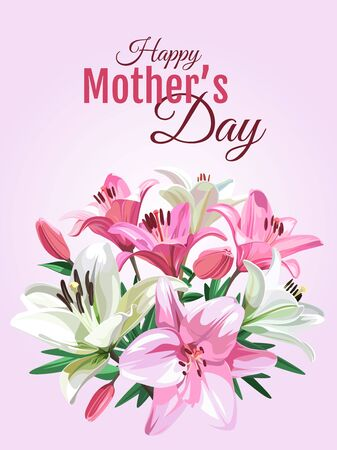 Banner for holiday with text and pink Lily flowers isolated on light background. Mother's Day illustration. Illustration