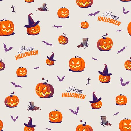 Seamless Halloween Pattern with Pumpkins and bats on light background.