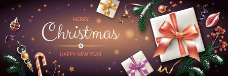 Horizontal banner with colorful Christmas symbols and text. Christmas tree, gift, decoration and other festive elements on black background.