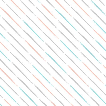 Seamless striped pattern with light diagonal lines isolated on white background. Hand drawn illustration. Colorful texture.