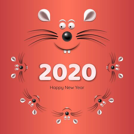 Banner - Chinese Happy new year 2020. Template image with family of rat or mouse isolated on red background. Lunar horoscope sign mouse. Illustration