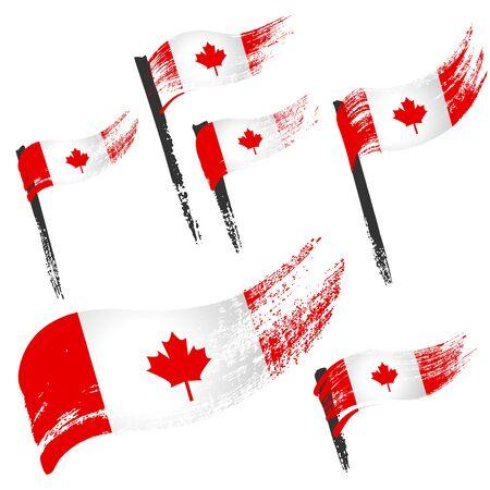 Set of national symbols - grunge flags of Canada isolated on white background. Hand-drawn illustration. Flat style.