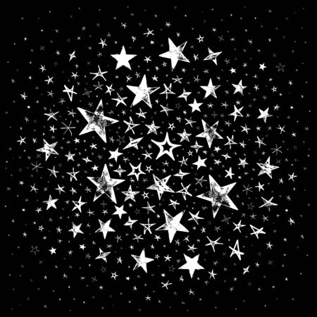 Galaxy with white stars. Star sky on black background - meteoroid, comet, asteroid, stars.