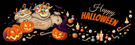 Horizontal banner with pumpkins and bags of colorful Halloween sweets for children: candy, chocolate, jelly isolated on black background.