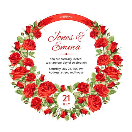 Cover of wedding invitation. Frame with red Roses and text isolated on white Background.