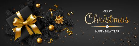 Horizontal banner with gold Christmas symbols and text. Christmas tree, gift, balls, ribbons and other festive elements on black background.