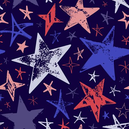 Seamless pattern with colorful hand drawn vector stars in doodle style on dark blue background.