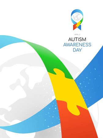 Autism Awareness Day. Colorful illustration on white background. Puzzle - symbol of the event.