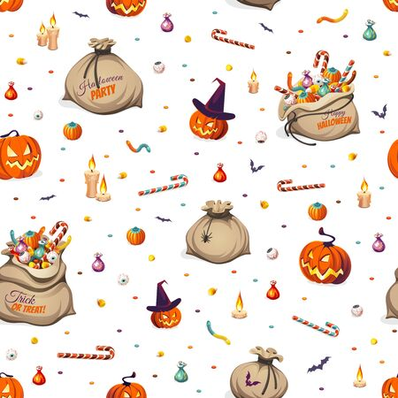 Seamless Pattern - pumpkins and bags of colorful Halloween sweets for children: candy, chocolate, jelly isolated on white background.