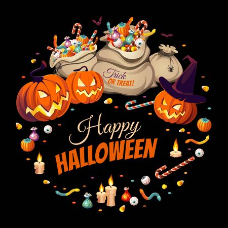 Banner with pumpkins and bags of colorful Halloween sweets for children: candy, chocolate, jelly isolated on black background.