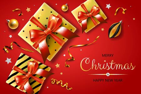 Horizontal banner with gold and silver Christmas symbols and text. Christmas tree, gift, decoration and other festive elements on red background. Illustration