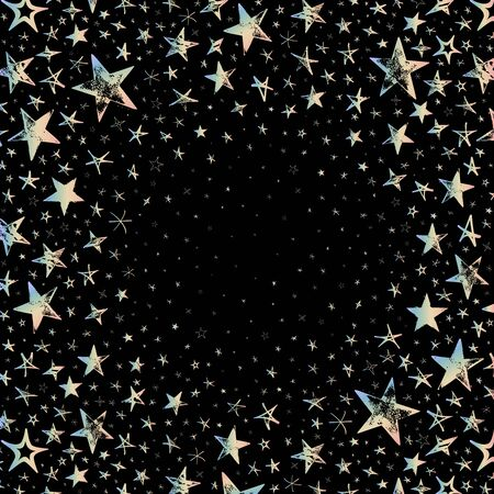 Galaxy with color stars. Star sky on black background - meteoroid, comet, asteroid, stars.