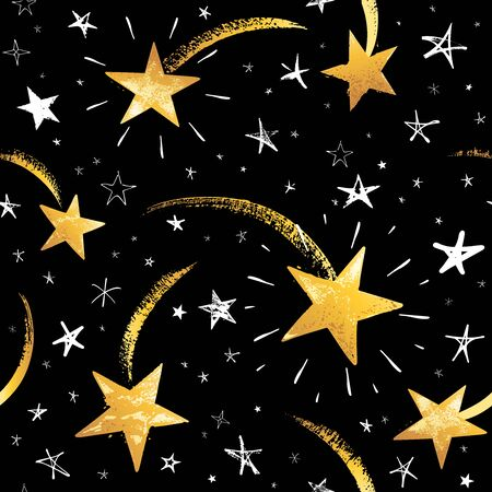 Seamless pattern with white and gold hand drawn vector falling stars in doodle style isolated on black background. Illustration