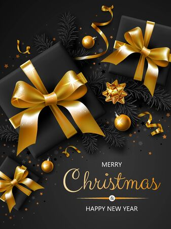 Vertical banner with Christmas symbols and text. Christmas tree, gifts, ribbons and other festive elements on black background.