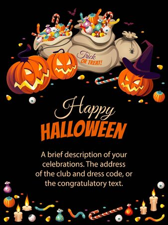 Vertical banner with pumpkins and bags of colorful Halloween sweets for children: candy, chocolate, jelly isolated on black background. Illustration