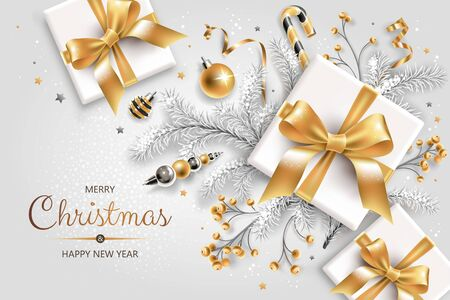 Horizontal banner with gold and silver Christmas symbols and text. Christmas tree, gifts, decoration and other festive elements on white background. Illustration