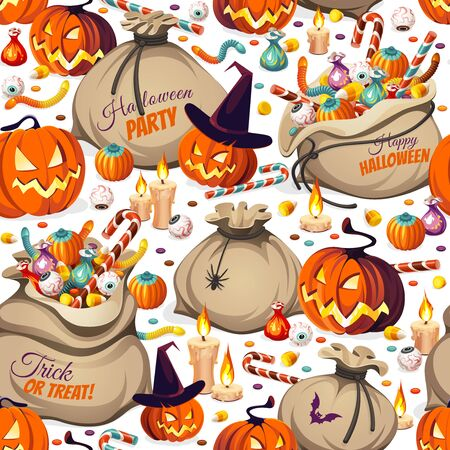 Seamless Pattern - pumpkins and bags of colorful Halloween sweets for children