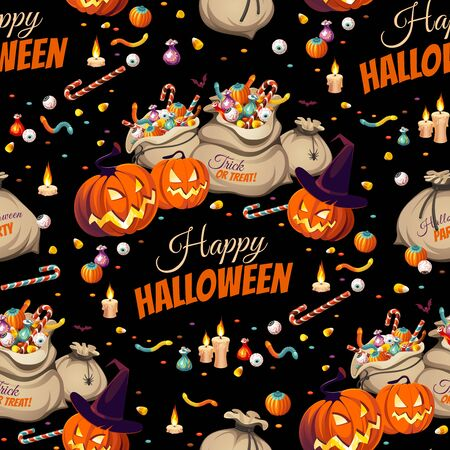 Seamless Pattern - pumpkins and bags of colorful Halloween sweets for children: candy, chocolate, jelly isolated on black background. Illustration