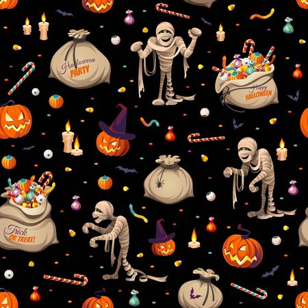 Seamless pattern - pumpkins, mummies and bags of colorful Halloween sweets for children: candy, chocolate, jelly isolated on black background. Illustration