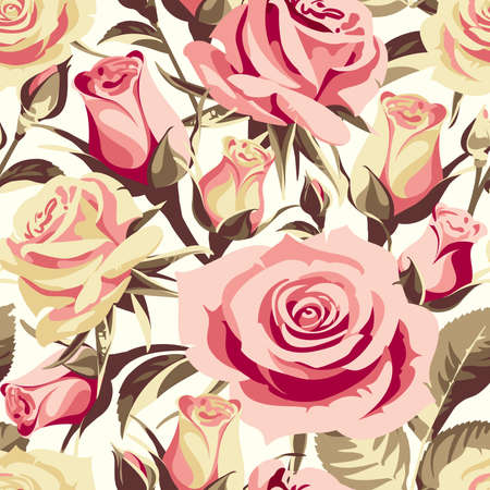 Seamless floral patterns with pink roses on a light background. Illustration