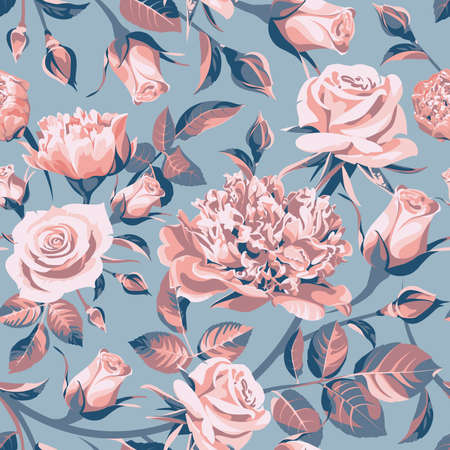 Seamless floral patterns with pink and blue roses on gray