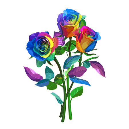 Multicolored Roses on White Background. Positive Spring Illustration with Flowers. Illustration