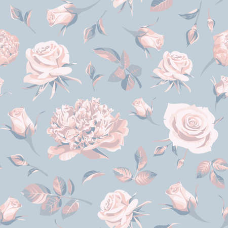 Seamless floral patterns with pink and blue roses on a blue background. Illustration