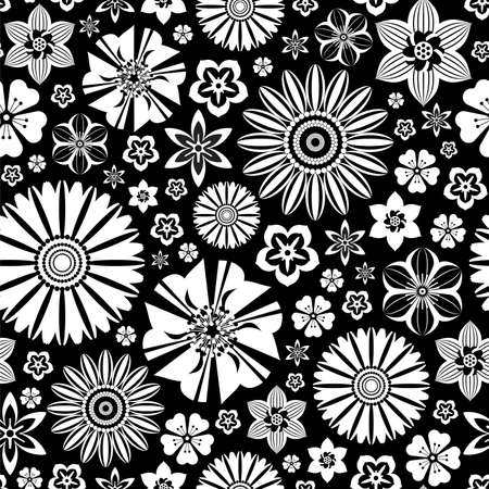 Summer seamless pattern with white flowers on the black background. Flat style. Ilustração