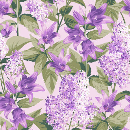 Seamless pattern with purple Campanula and Lilac - flowers, isolated on light background. Hand-drawn illustrations. Ilustracja