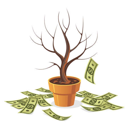 Dying money tree. Fallen Green cash banknotes. Objects isolated on a white background. Cartoon illustration.