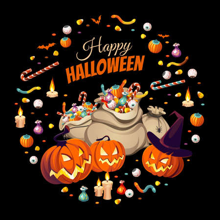 Banner with pumpkins and bags of сolorful Halloween sweets for children: candy, chocolate, jelly isolated on black background. 向量圖像