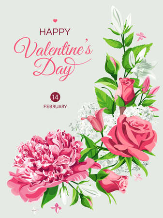 Valentine's Day greeting card template. Vertical banner with pink and white flowers. Roses, Peonies, Lilacs, Campanulas and text isolated on light background. Illustration