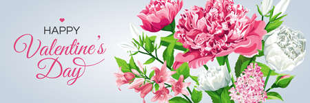 Valentine's Day greeting card template. Horizontal banner with pink and white flowers. Roses, Peonies, Lilacs, Campanulas and text isolated on light background.