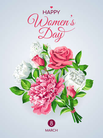 Vertical 8 March Women's Day greeting card template. Pink and white flowers - Roses, Peonies, Lilacs isolated on light background.