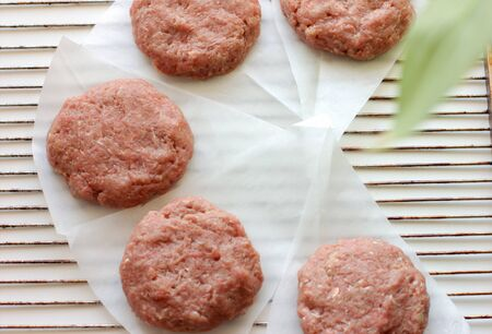 Plant based meat concept. Vegetable burger patties. First non-soy plant meat to sell in supermarkets.