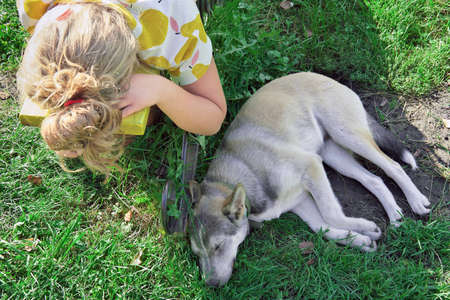 unrecognizable teenager girl resting on the bench near her sleeping dog. pet friends. lovely sleepy dog. togetherness and friendship concept. loyal friend. Stock fotó
