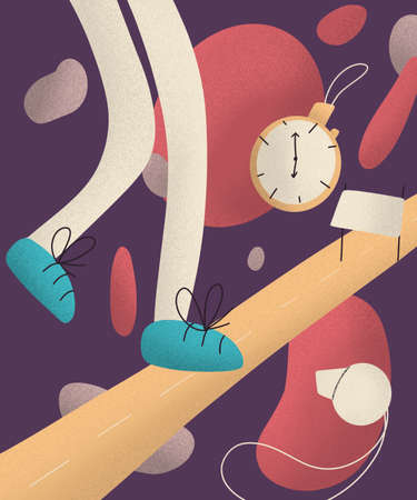 sports illustration. legs of cartoon character running on a road and stopwatch. jogging and running concept. healthy lifestyle. fitness and weight loss. Stock fotó
