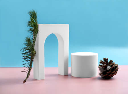 christmas mock up background with podium for product display. product stand in minimal slyle on blue and pink background. pine cone and fir tree branch.