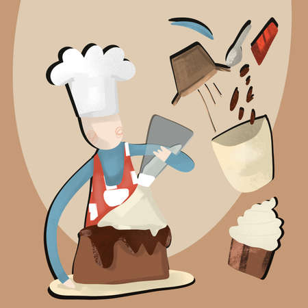 cooking illustration. chef in uniform glazing cake with frosting. cupcake and ingredients on beige background. baking concept. cartoon character.