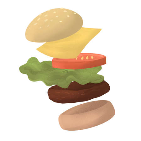 flying hamburger illustration. tasty beefburger with visible every ingredient. Bun, meat, tomatoes, lettuce, cheese. vertical banner on white background. restaurant menu promo. Stock fotó