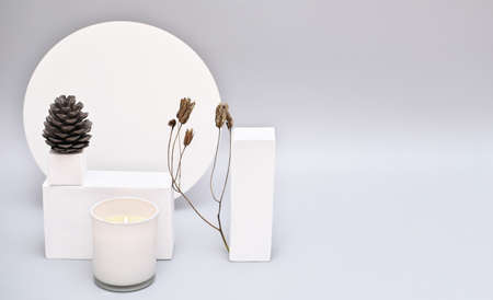 Abstract background mock up with white podium for product display. Blank product stand in minimal slyle on gray background. pine cone and white soy candle with dry branch.
