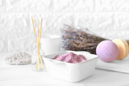 lavender as calming and soothing ingredient for bath soak, bubble bath bomb and scented candle. relaxing fragrance of lavender flowers for good sleep and relax. selective focus