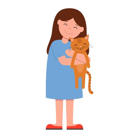 Laughing girl in blue dress holding and strongly cuddling cat. Isolated vector illustration of happy kid and pet.