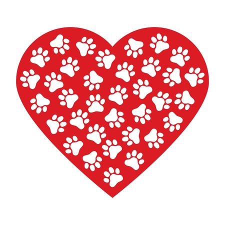 Dog paw print made of red heart vector illustration background.