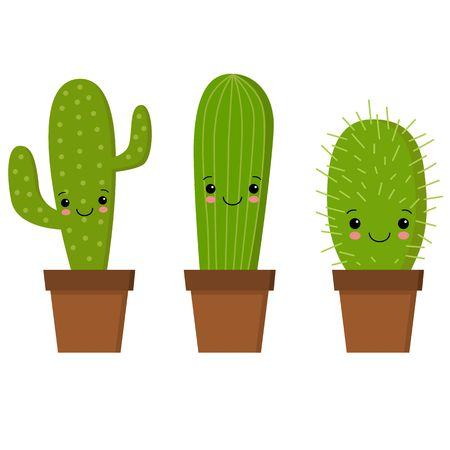 illustration of cute cartoon cactus with funny face in pot. can be used for cards, invitations or like sticker Çizim