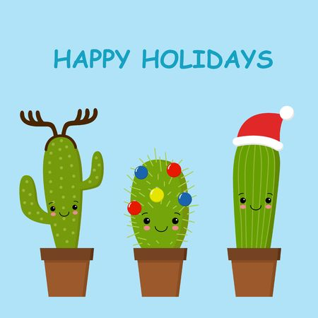 Merry Christmas card. Cactus in a Christmas hat. Cute vector greeting card.