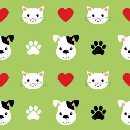 Cartoon cute cats and dogs vector seamless pattern. Good for background, wallpaper, cover, textile and card for children vector
