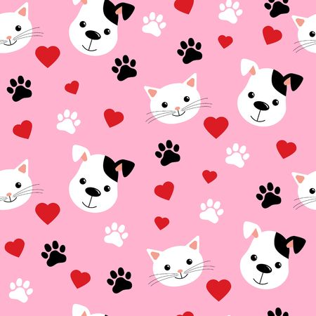 Cartoon cats and dogs seamless pattern showing cute cat and dog for pets friendship or wallpaper design vector