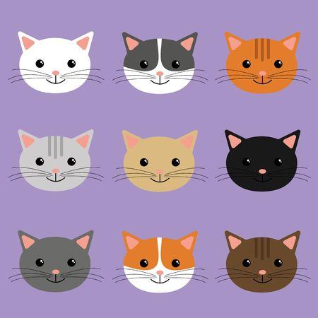 Cute cats heads vector illustration. Cartoon character .