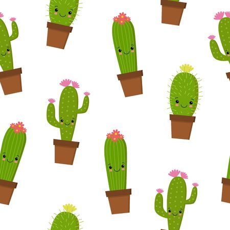 Seamless pattern with cute kawaii cactus and succulents with funny faces in pots. White background. Vector illustration.